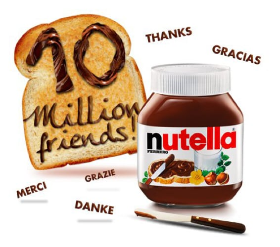 10 Million Friends Reached On Facebook  | Nutella